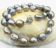 Real Huge 9-10mm South Sea Gray Natural Baroque Pearl Necklace 18''AAA