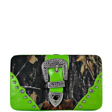 GREEN MOSSY CAMO BUCKLE LOOK FLAT THICK WALLET COUNTRY WESTERN BLING CLASP NEW