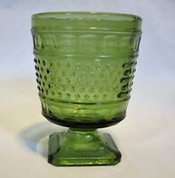 Vintage Napco 1180 Hobnail Green Glass Vase Planter Pedestal Base OHIO USA