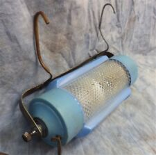 Blue Bed Lamp Reading Art Deco Shade Mid Century Night Light Fixture c