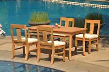 "5pc Grade-A Teak Dining Set 60"" Rectangle Table 4 Osborne Armless Chair Outdoor"