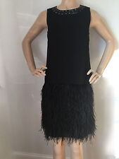 NEW ST JOHN KNIT COUTURE SZ 2 BLACK CAVIAR MILANO  & SILK WITH OSTRICH FEATHERS