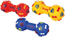 DOG TOY DUMBBELL Vinyl Dog Toy WITH SQUEAKER 14cm Colours Vary Squeak x1