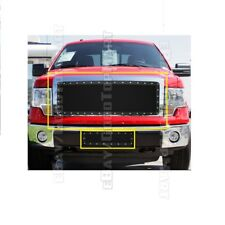 For 2009 10 11 12 13 2014 FORD F150 F-150 Black Mesh Rivet Grille Inserts Up+Low