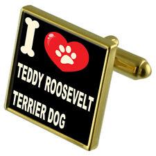 I Love My Dog Gold-Tone Cufflinks - Teddy Roosevelt Terrier