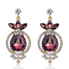 Gentle Wedding Round Dangle Drop Crystal Purple Women Jewelry Fashion Earring