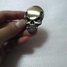 2x 3D Bronze devil skull head sticker for car Body Fuel tank cap rearview mirror
