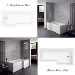 L-Shaped P Shaped Shower Baths 1700mm Front Panel & Screen White Modern Bathroom