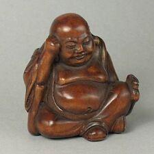 "1940's Japanese handmade Boxwood Wood Netsuke ""BUDDHA"" Figurine Carving  B04"