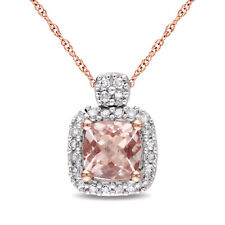 Amour 10k Rose Gold Morganite and 1/10ct TDW Diamond Halo Necklace