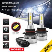 9006 HB4 55W 26000LM Car LED Headlight Bulb Kit Bright Replace Xenon White 6000K
