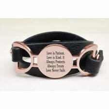 Pink Box Genuine Leather Multi Wrap Inspirational Bracelet 'Love Is Patient'