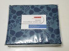 New Queen Microfiber Sheet Set Ultra Smooth Brushed Microfiber Blue Flower