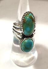 Crow Springs NV Turquoise Sterling Silver 2 Stone Ring TBYRD Navajo Avin Joe sz6