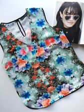 ZARA Top Woman Mint Floral Studded Singlet Tank Blouse L