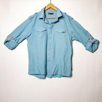 Rusty Mens Size XL Blue Long Sleeve Button Up Shirt