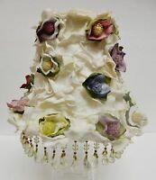 Victorian Lamp Shade Hand Crafted Floral Embellished Beaded Cottage Chic Vintage