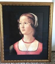 Domenico Ghirlandaio Portrait of a Young Woman Red Beads Framed Art Print Canvas