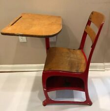 Child's Vintage Worn Red Metal And Wood School Desk