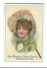 Old Trade Card Niagara Gloss Starch For Laundry Woman Oriental Fan