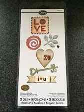 SIZZIX HEARTS & MORE SET 3 MEDIUM SIZZLITS DIES HEART KEY LOVE WEDDING