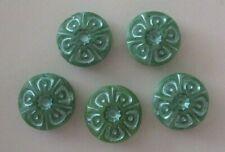 5 Czech glass table cut disc beads, flower, green