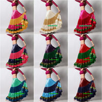 Mix Color Satin 6 Yard Tiered Gypsy Skirt Belly Dance Ruffle Flamenco Jupe Gonna