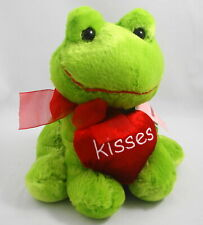 Plush Kelly Lime Green Frog Holding Red Valentine Heart Kisses Inter-American 8""