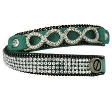Armband Wickelarmband Grün goldenes Kettenteil Unendlichkeit und Strass Steine