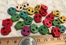 "Beads-""Turquoise"" Stone SKULL Skeleton Bead-FLAT Open Mix Bright Colors- 25 pc"