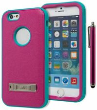 For iPhone 6 4.7 Hybrid Protective Soft Teal Hard Pink Kickstand Case+Stylus