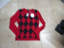 TOMMY HILFIGER WOMENS PLAID V-NECK SWEATER (S/P),NWT SUPER SOFT RED & NAVY
