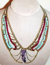 New Fossil Amethyst Bead and Multi Chain Bib Necklace Antique Gold Tone