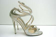 JIMMY CHOO Lance Strapy Metallic Champagne Silver Sandals High Heels Size 6