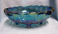 CENTERPIECE FRUIT BOWL Indiana Glass Harvest Blue Carnival Glass Iridescent (A1)