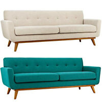 "Mid Century Modern Classic Fabric Sofa 90"" Wide In Beige Or Teal Blue"