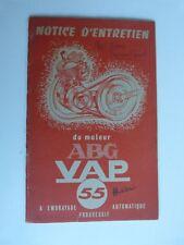 livret notice d'entretien : moteur ABG VAP 55 de 1955 en reproduction