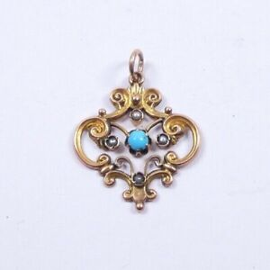 Rose Gold Pendant Antique 9 carat Pearl and Turquoise