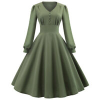 Women Retro Swing Hepburn Skater Dress Army Green Evening Party Pinup Midi Dress