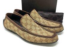 Auth GUCCI Gg Logo Monogram Driving Shoes Flats Men's #40.5 US 8 Canvas Beige