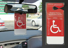 Set of 2 - Handicap Placard Cover - Clear Vinyl Disability Hanger - Made in USA