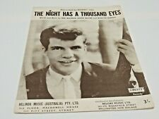 THE NIGHT HAS A THOUSAND EYES Vintage 1962 Australian sheet music by BOBBY VEE