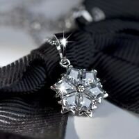 18k white gold gp made with Swarovski Crystal Snowflake Frozen pendant necklace