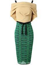 R'13  ICONIC ROLAND MOURET AVALON black/beige cotton blend/lace draped dress s12