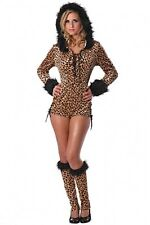 Ladies PRRfection Cat Costume Leopard Romper + Leg Warmers Adult XS Small 0 2