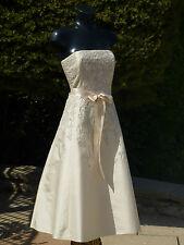 MONSOON IVORY STRAPLESS SILK DRESS 08 BALL PROM PARTY WEDDING CRUISE