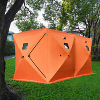 Pop-up 8-person Ice Shelter Fishing Tent Winter Shanty Anchors Portable Window