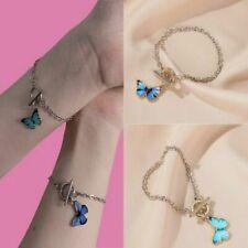 Charm Butterfly Enamel Women Bracelet Bangle Silver Chain Fashion Jewelry Gifts