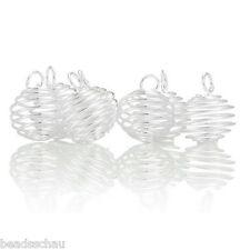 50PCs Silver Plated Spiral Bead Cages Pendants Findings GIFTS