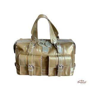 "Authentic MCM Gold Metallic Patent Leather Medium Boston Handbag ""Made In Italy"""
